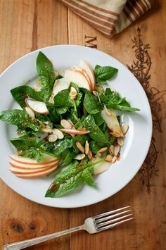 Bonded by a cookbook- Spinach salad w/toasted almonds, apples & Vermouth vinaigrette