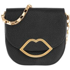 Lulu Guinness Amy Small Grainy Leather Crossbody Bag Black in black,... (£325) ❤ liked on Polyvore featuring bags, handbags, shoulder bags, black, crossbody purses, leather handbags, leather crossbody purses, evening purses and leather shoulder handbags