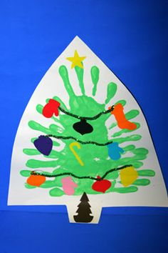 Handprint Christmas Tree.  Great combo of painting and fine motor activity - did this on a plate for grandmas xmas gift