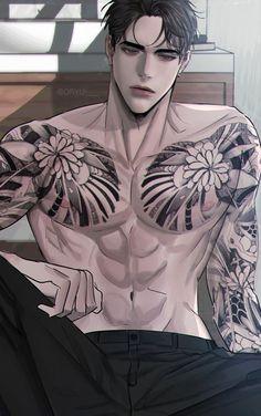 Anime Sexy, Dark Anime Guys, Cool Anime Guys, Hot Anime Boy, Anime Guys Shirtless, Handsome Anime Guys, Manga Art, Manga Anime, Yakuza Anime