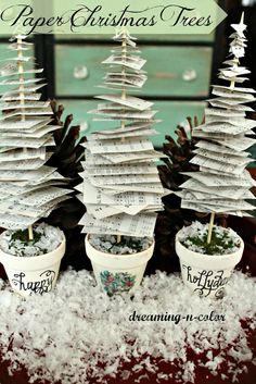 dreamingincolor: How to make Paper Christmas Trees