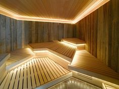 Good sauna designs and plans make your sauna project perfect. When you decide to design your own sauna, it is important to consider several factors. Heaters are the heart and soul of any sauna. Spa Interior, Interior Desing, Interior Exterior, Sauna Steam Room, Sauna Room, Steam Bath, Spa Design, Design Ideas, Sauna Lights