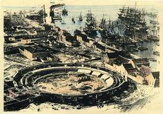 #Málaga. Imagen del Puerto y de la construcción de la Plaza de Toros La Malagueta. 1870  Archivo Diputación Provincial de Málaga
