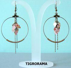 boucles d'oreille créole grappe papier japonais roses, perles et pendants de la boutique TIGRORAMA sur Etsy