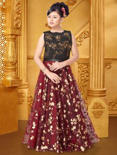 802351129ca12c Shop Maroon black hue party wear gown in silk fabric online from G3fashion  India. Brand