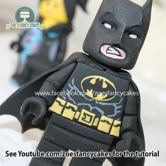 Lego batman tutorial Lego Batman Cake Topper, Batman Cakes, Lego Cake, Fondant Cake Toppers, Fondant Figures, Cupcake Cakes, Batman Spiderman, Superhero, Zoes Fancy Cakes