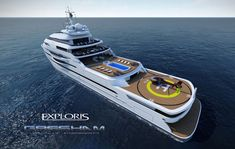 The London-based design studio Gresham Yacht Design has recently unveiled their latest superyacht concept: Exploris. Explorer Yacht, Yacht Design, 100m, Luxury Yachts, Boats, Presents, Concept, London, Fun