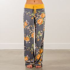 c05ff6e994b Autumn Women Flower Print Pants High Waist Wide Leg Pants Casual Loose  Drawstring Long Trousers Female