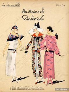 """1923 Diederichs (Fabric) ''Les Idées Nouvelles de la Mode'' Fashion Art Deco Pochoir ''Très Parisien"""""""