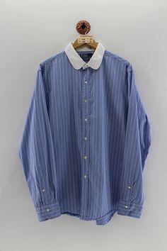 Vintage Jerseys, Used Clothing, Shirt Men, Drawing Ideas, Long Sleeve Shirts, Oxford, Polo Ralph Lauren, Stripes, Shirt Dress