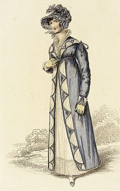 La Belle Assemblee, Autumnal Walking Dress, September 1815.  I ADORE everything about this outfit!