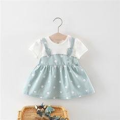 Baby Girl Rabbit Ears Design Faux-two Dotted Short-sleeve Dress Dresses Kids Girl, Little Girl Outfits, Baby Dresses, Kids Outfits, Girls, Little Fashion, Baby Girl Fashion, Kids Fashion, Stitching Dresses