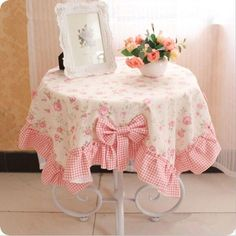 XS pastoral table cloth thicken cotton with linen bow printed flower multi… Dining Chair Covers, Dining Chairs, Dining Table, Pink Tablecloth, Tablecloths, Diy Upcycling, Table Toppers, Soft Furnishings, Table Linens