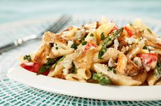 Penne with Grilled Chicken, Gorgonzola, Asparagus and Caramelized Onions