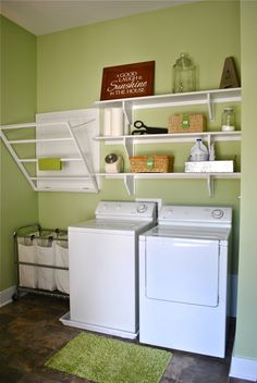 Great drying rack made by the husband at New Every Morning: Laundry Room Reveal