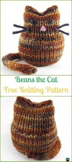 Amigurumi Beans the Cat Softies Toy Free Knitting Pattern - Knit Cat Toy Softies Patterns #Cattoys