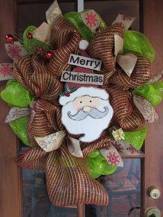 "24"" Merry Christmas Wreath- Santa Claus Wreath- Christmas Deco Mesh Wreath- Red, Green, Gold Wreath- Snowflake Wreath- Burlap Santa Wreath"