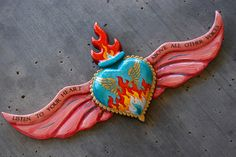 painted winged sacred heart for Sandra O. Custom painted winged sacred heart for Sandra O.Custom painted winged sacred heart for Sandra O. Heart With Wings, I Love Heart, Mexican Folk Art, Mexican Style, Mexican Crafts, Pattern Texture, Tin Art, Heart Of Jesus, Ideias Diy