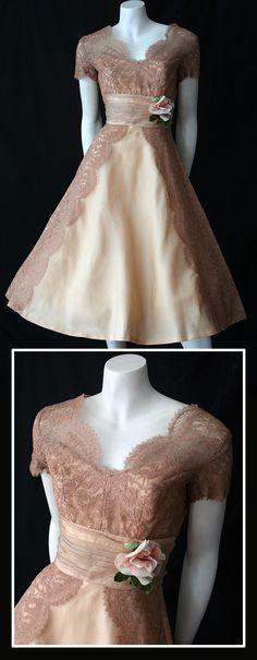 mocha chiffon and lace 50s dress