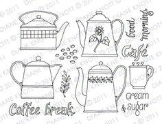 Digital Stamp / Embroidery Pattern - Coffee Break