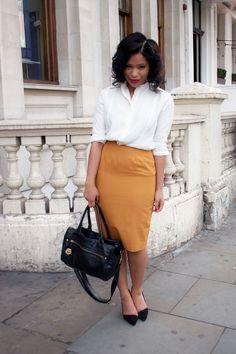 White blouse + Mustard Yellow Skirt