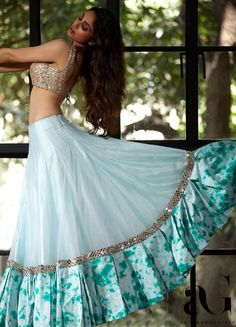Latest Collection of Lehenga Choli Designs in the gallery. Lehenga Designs from India's Top Online Shopping Sites. Party Wear Indian Dresses, Designer Party Wear Dresses, Party Wear Lehenga, Indian Gowns Dresses, Dress Indian Style, Indian Fashion Dresses, Indian Wedding Outfits, Indian Designer Outfits, Lehenga Wedding