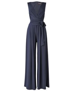 Women's Navy Wrap Belted Jumpsuit