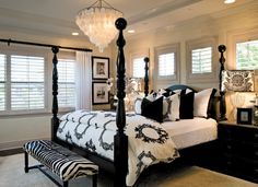 Interior Design by Barclay Butera. Black and white bedroom with damask lamp, zebra ottoman, four post bed, and Capiz Shell Chandelier. I LOVE capiz she'll ANYTHING. Home, Bedroom Inspirations, Home Bedroom, Bedroom Makeover, Dreamy Bedrooms, Bedroom Decor, Beautiful Bedrooms, Interior Design, White Bedroom