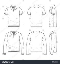 c46eb19ae Polo shirts with short and long sleeves. Front, back and side views of  clothing