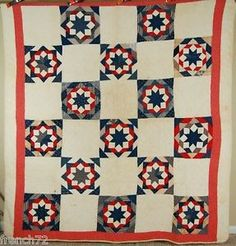 BEAUTIFUL-Vintage-1890s-Red-White-Blue-TWINKLING-STAR-Antique-Patchwork-Quilt