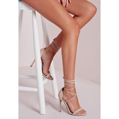Missguided Lace Up Barely There Heeled Sandals ($50) ❤ liked on Polyvore featuring shoes, sandals, nude, lace up sandals, high heel sandals, lace-up heel sandals, nude heel sandals and wrap sandals