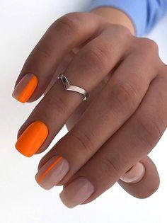 Square Nail Designs, Short Nail Designs, Orange Nail Designs, Orange Nail Art, Neon Orange Nails, Simple Nail Designs, Yellow Nails, Minimalist Nails, Best Acrylic Nails