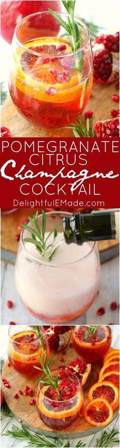 Pomegranate Citrus Champagne Cocktail ~ is made with sweet blood orange slices, pomegranate juice, citrus vodka and topped with Champagne...this libation is perfect for the holidays!