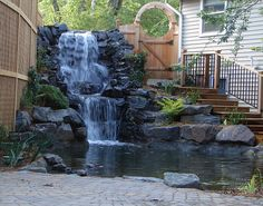 for Building Ponds in Your Backyard Large waterfall with big trap rock bouders.Large waterfall with big trap rock bouders. Backyard Pool Landscaping, Ponds Backyard, Garden Pool, Backyard Waterfalls, Indoor Waterfall, Garden Waterfall, Pond Design, Landscape Design, Backyard Water Feature