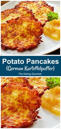 Potato Pancakes (German Kartoffelpuffer) - The Daring Gourmet - - Called by different names in Germany's various regions, Kartoffelpuffer, or potato pancakes, are easy to make and are absolutely delicious! Easy German Recipes, German Potato Recipes, Breakfast Recipes, Dinner Recipes, German Recipes Dinner, Breakfast Dishes, Soup Recipes, German Potatoes, Potato Dishes