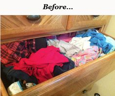 Organize those dresser drawers the EASY WAY!!! How to fold clothes to stand vertically in the drawers, so you don't have to dig to find what you need!
