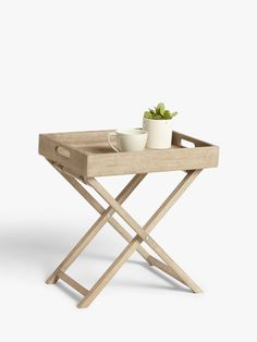 Croft Collection Burford Garden Small Tray Table, FSC-Certified (Eucalyptus Wood), Natural at John Lewis & Partners