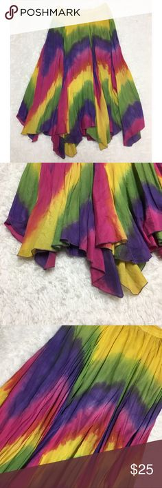 Vintage Tie Dye Rainbow Peasant Skirt : D Beautiful vintage tie dye rainbow pride flowy Peasant Skirt women's size medium good used condition  Approximate measurements  ▪️Hip to Hip inches  ▪️Hip to Hem inches  Thank you for checking out my closet! Offers are always welcome or bundle for bigger savings. If you have any questions feel free to ask! Vintage Skirts