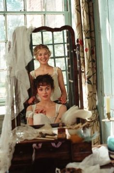 Pride and Prejudice - Keira Knightley and Rosamund Pike, getting dressed up for the ball