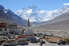 View of Mount Everest from Rongbuk Monastery (at 4976 metres above sea level) in Nepal.