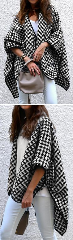 Gear up and go with $27.99 only. Free shipping & Easy return. This houndstooth cardigan is a beautiful basic for your wardrobe. You'll be completely heartbroken with the bats sleeve and open front! Try some stylish pieces at Cupshe.com !