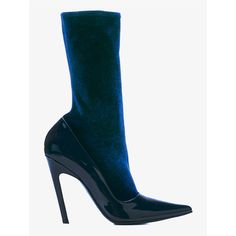 BALENCIAGA Velvet & Patent Leather Sock Boots (€560) ❤ liked on Polyvore featuring balenciaga