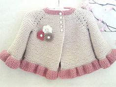 Discover thousands of images about Knitting PATTERN Baby Jacket Baby Cardigan Garter Stitch Knit Pattern Baby Girl Jacket Newborn Girl Coat Knitting Cardigan Baby PATTERN Cardigan Bebe, Crochet Baby Cardigan, Cardigan Pattern, Crochet Jacket, Booties Crochet, Jacket Pattern, Crochet Hats, Baby Knitting Patterns, Baby Patterns
