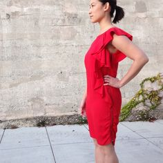 Zara Ruffled Shift Dress Sophisticated and fun red dress with full side zipper and asymmetrical ruffled trim. Add a belt to cinch the waist or keep it streamlined as a shift. Demure sleeves, thick fabric, lined. 55% viscose 45% linen. ❤no trades. Zara Dresses