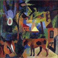 August Macke (1887-1914) Landscape with Cows, Sailing Boat and Figures (1914)