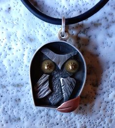 NEW Owl ShadowBox necklace sterling gold copper & by roneprinz, $275.00