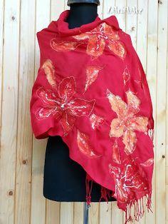 FELT-FILZ-ФИЛЦ-ПЛЪСТ-CULTURE: EXOTIC FLOWERS red nunofelt shawl & wrap * ЕКЗОТИЧНИ ЦВЕТЯ - червен нунофелт шал и пелерина