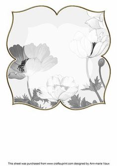 Anemone1 Silver Large Blooms 8inch Insert Panel on Craftsuprint - Add To Basket!