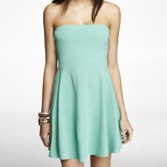 •STRAPLESS SKATER DRESS• NWT. Soft, breathable, flattering. Comes with 2 straps to attach on if desired. Perfect spring / summer dress. Teal/ turquoise color. Express Dresses Mini