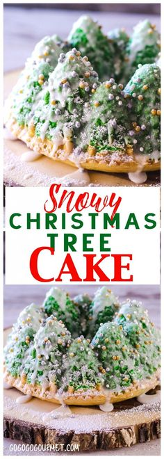 This beautiful Snowy Christmas Tree Cake is simpler than you think- it's a dressed up boxed cake mix! |  via @gogogogourmet